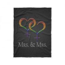 Mrs. and Mrs. Lesbian Pride Fleece Blanket