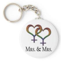 Mrs. and Mrs. Lesbian Pride Keychain