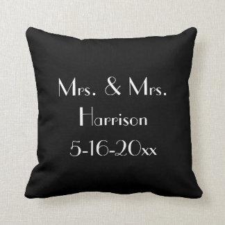 Mrs. and Mrs. Lesbian Wedding Anniversary Pillow