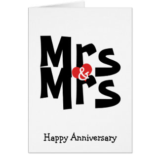 Mrs and Mrs Lesbian Wedding Bold Anniversary Card