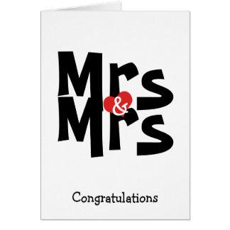 Mrs and Mrs Lesbian Wedding Bold Congratulations Card