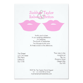 Mrs and Mrs Lipstick Kisses Wedding Card