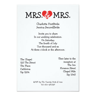 Mrs and Mrs Love Heart Lesbian Wedding Card