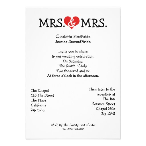 Mrs and Mrs Love Heart Lesbian Wedding 5x7 Paper ...
