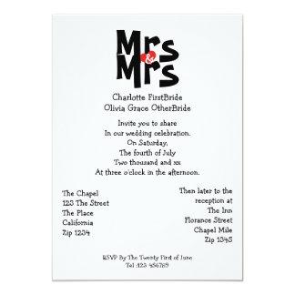 Mrs And Mrs Modern Bold Gay Lesbian Wedding Card