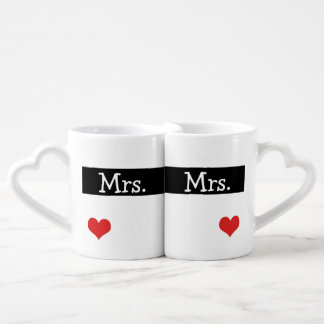 Mrs and Mrs Newly Wed Heart Wedding Couples' Coffee Mug Set