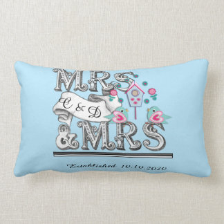 Mrs and Mrs Personalized Lesbian Wedding Gift Lumbar Pillow