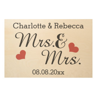 Mrs And Mrs Personalized Name And Date Of Marriage Wood Wall Art