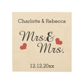 Mrs And Mrs Personalized Name And Date Of Marriage Wood Canvas