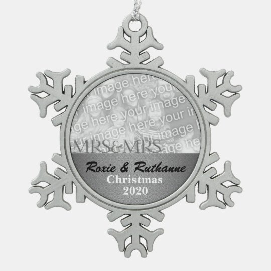 Mrs and Mrs Silver Damask Custom Snowflake Pewter Christmas Ornament ...