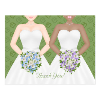 Mrs and Mrs Two Brides Lesbian Wedding Thank You Postcard