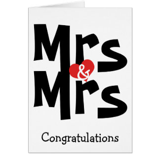 Mrs and Mrs Wedding Black White Congratulations Card