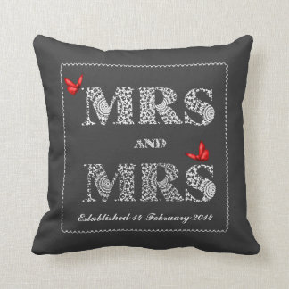 Mrs and Mrs White Lace  Word Art  Red Butterflies Pillow