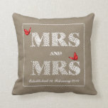 Mrs and Mrs White Lace  Word Art  Red Butterflies Throw Pillow