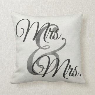 Mrs and Mrs White Script lesbian Wedding Pillow