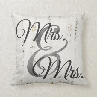 Mrs and Mrs Wood lesbian Wedding Personalized Throw Pillows