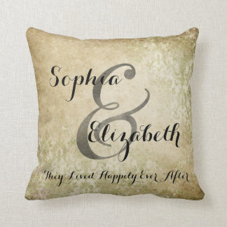 Mrs and Mrs Worn lesbian Wedding Personalized Pillow