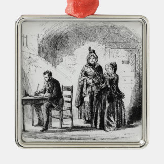 Mrs. Bagnet returns from her expedition Square Metal Christmas Ornament