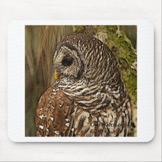 Mrs Barred Owl Mouse Pad