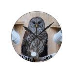 Mrs Barred Owl - OctoBox Nest Round Wall Clocks