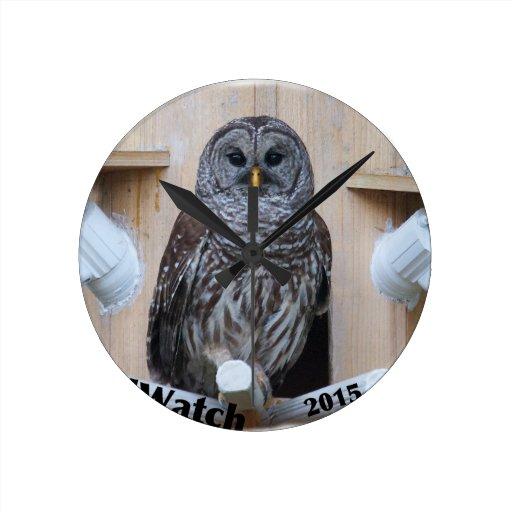 Mrs Barred Owl - OctoBox Nest Round Wallclock