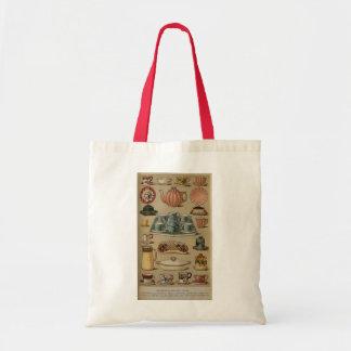 Mrs Beeton Breakfast Tea China Crockery Tote Bags