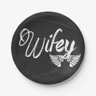 Mrs Biker honeymoon chalkboard wifey Paper Plate