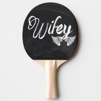 Mrs Biker honeymoon chalkboard wifey Ping-Pong Paddle