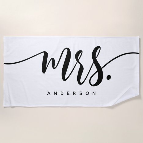 Mrs Black And White Newlywed Bride Personalized Beach Towel
