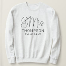Mrs. Black Modern Script Custom Wedding Newlywed Sweatshirt