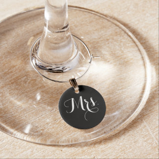 Mrs Bride Black And White Wine Charms