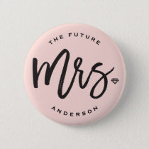 Mrs Brush Diamond Chic Wedding Bridal Party Button