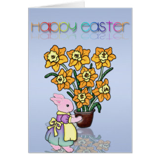 Mrs. Bunny and her Easter Daffodils Cartoon Card