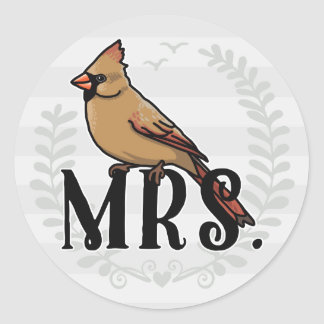 Mrs. Cardinal Mr and Mrs His and Hers Classic Round Sticker