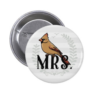 Mrs. Cardinal Mr and Mrs His and Hers Pinback Button