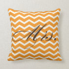 Mrs. Chevron Stripes American MoJo Pillow