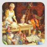 Mrs. Claus and Santas Elves Bake Christmas Cookies Square Sticker