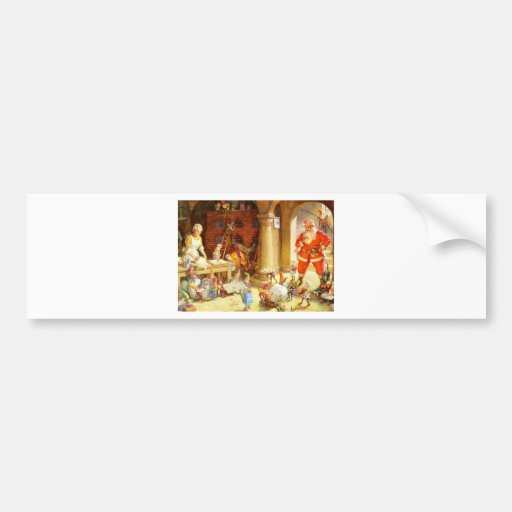 Mrs. Claus and The Elves Bake Christmas Cookies Car Bumper Sticker
