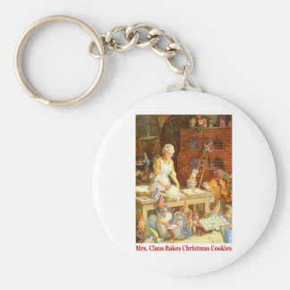 Mrs. Claus and the Elves Bake Christmas Cookies Keychain