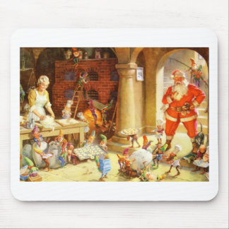 Mrs. Claus and The Elves Bake Christmas Cookies Mouse Pad