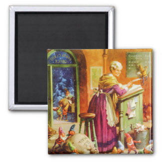 Mrs. Claus and The Elves open Santa's Mail 2 Inch Square Magnet