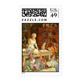 Mrs. Claus Bakes Christmas Cookies Stamp