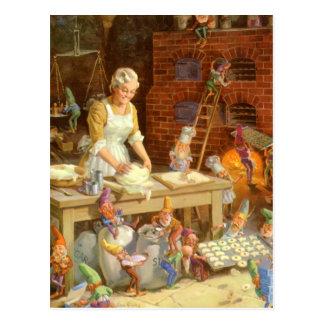 Mrs Claus Bakes Cookies with Santa s Elves Post Cards