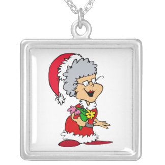 mrs claus happy with flowers personalized necklace
