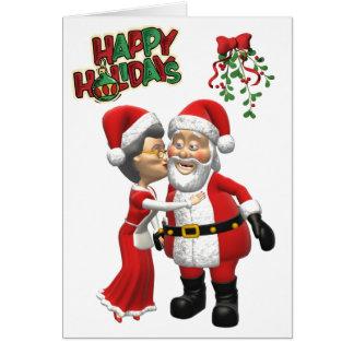 Mrs Claus kissing Santa Card