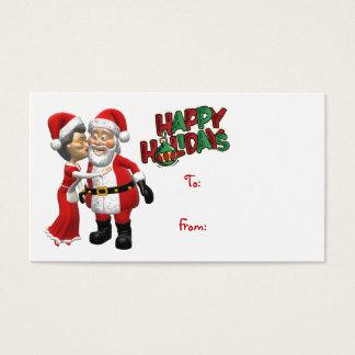 Mrs Claus kissing Santa Gift Tag