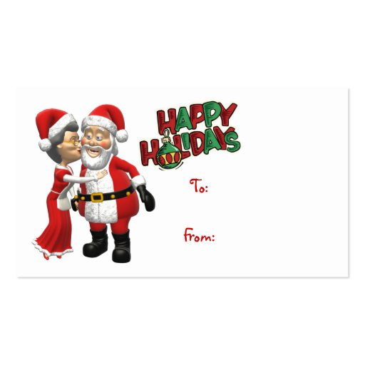 Mrs Claus kissing Santa Gift Tag Double-Sided Standard Business Cards ...