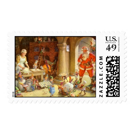 Mrs Claus Makes Cookies on Christmas Eve Stamp