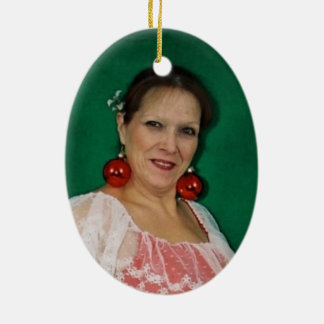 Mrs Claus Double-Sided Oval Ceramic Christmas Ornament