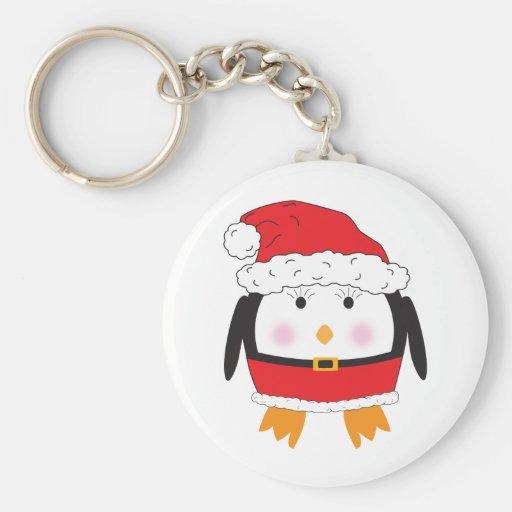 Mrs. Claus Penguin Basic Round Button Keychain